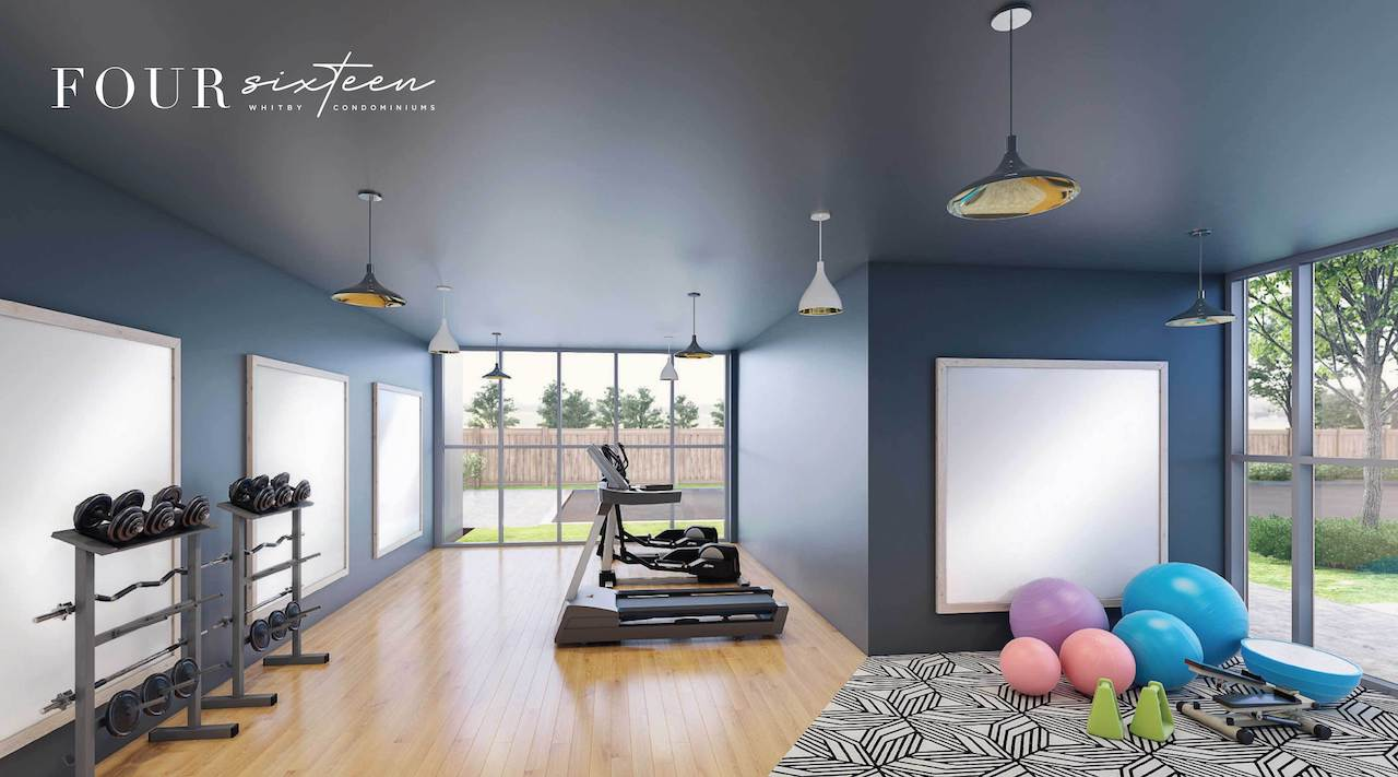 Rendering of Four Sixteen Whitby Condos fitness centre