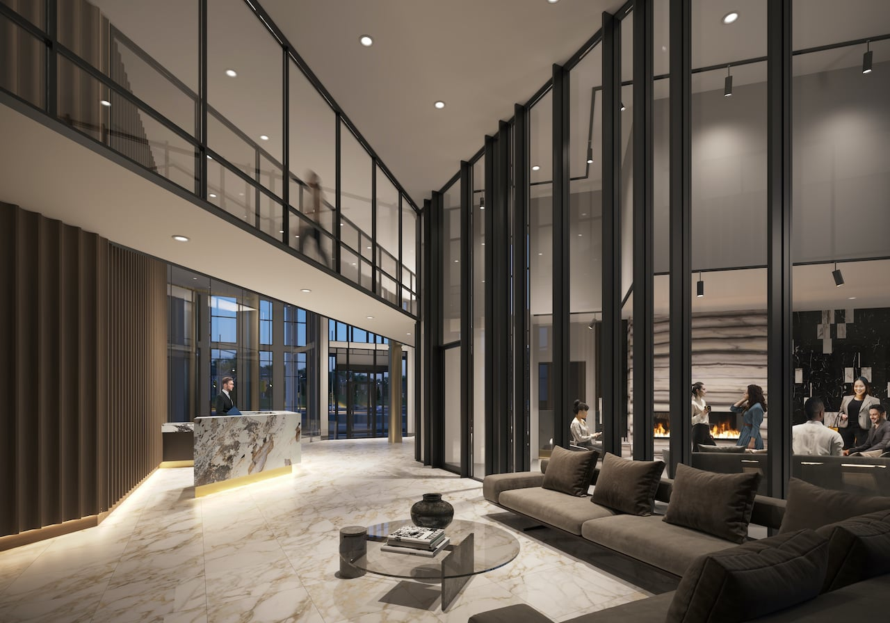 Rendering of The Wilmot Condos Interior lobby