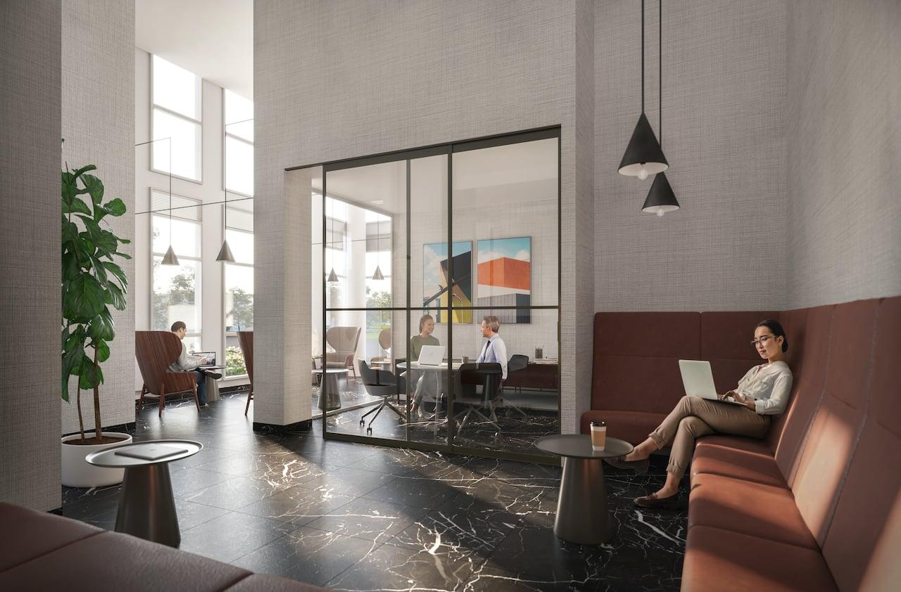 Rendering of The Wilmot Condos Interior tech lounge