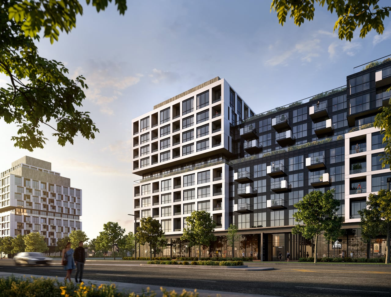 Rendering of Verge Condos exterior in the afternoon
