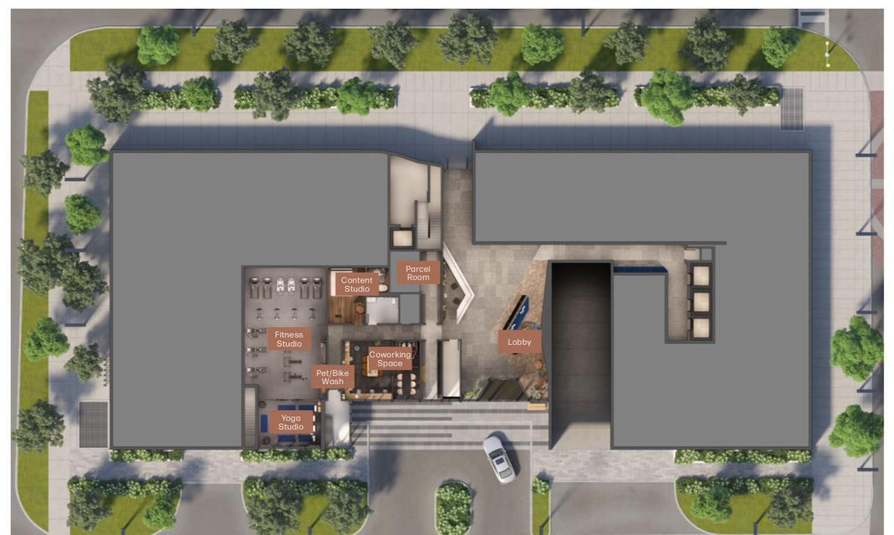 Rendering of Verge Condos ground-floor amenity space