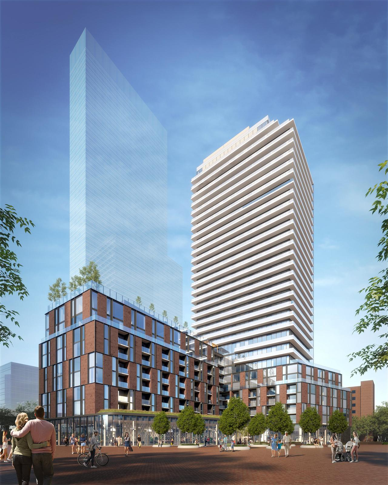 Rendering of 33 Parliament Condos exterior full side view