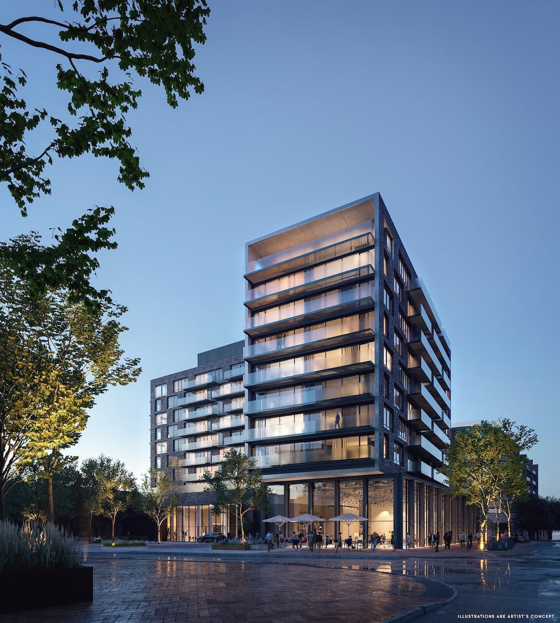 Rendering of Brightwater The Mason exterior at night