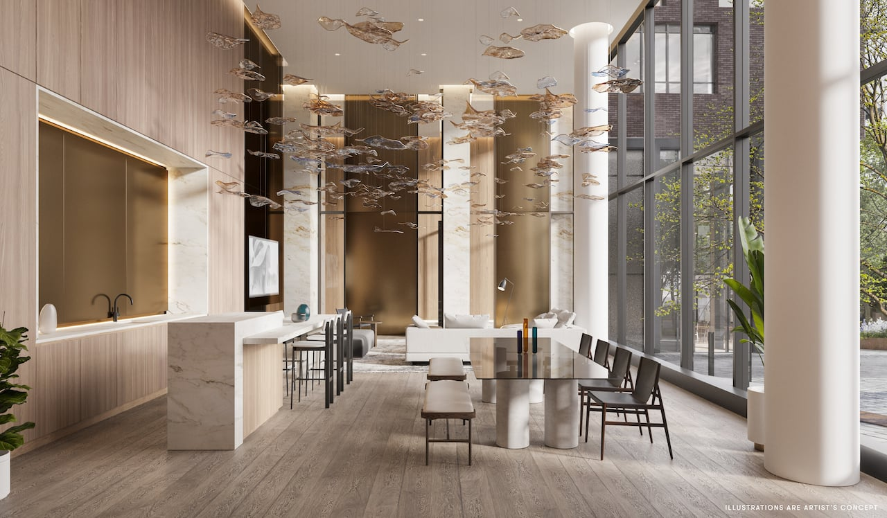 Rendering of Brightwater The Mason party room during the day
