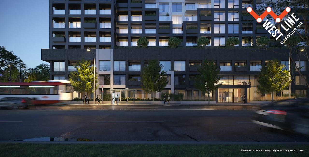 Rendering of WestLine Condos exterior ground floor