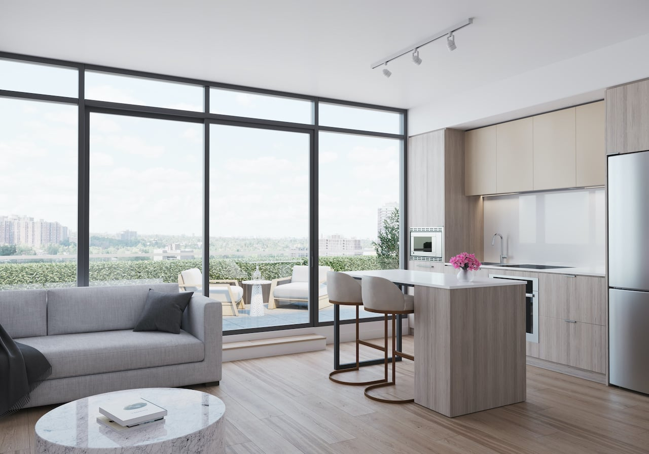 Rendering of Arte Condos Neige Living and Dining interior