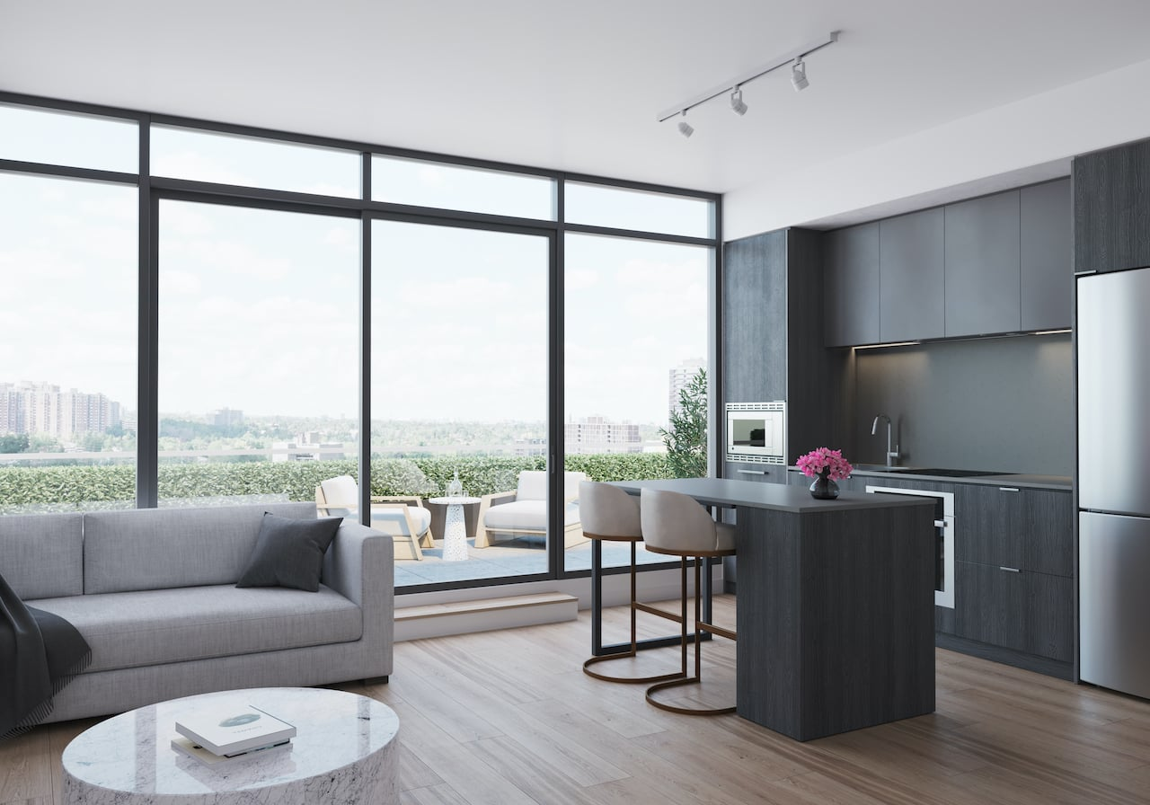 Rendering of Arte Condos Ombre Living and Dining interior