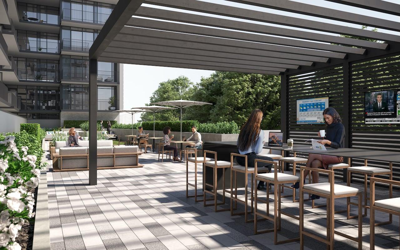Rendering of Arte Condos outdoor co-working lounge