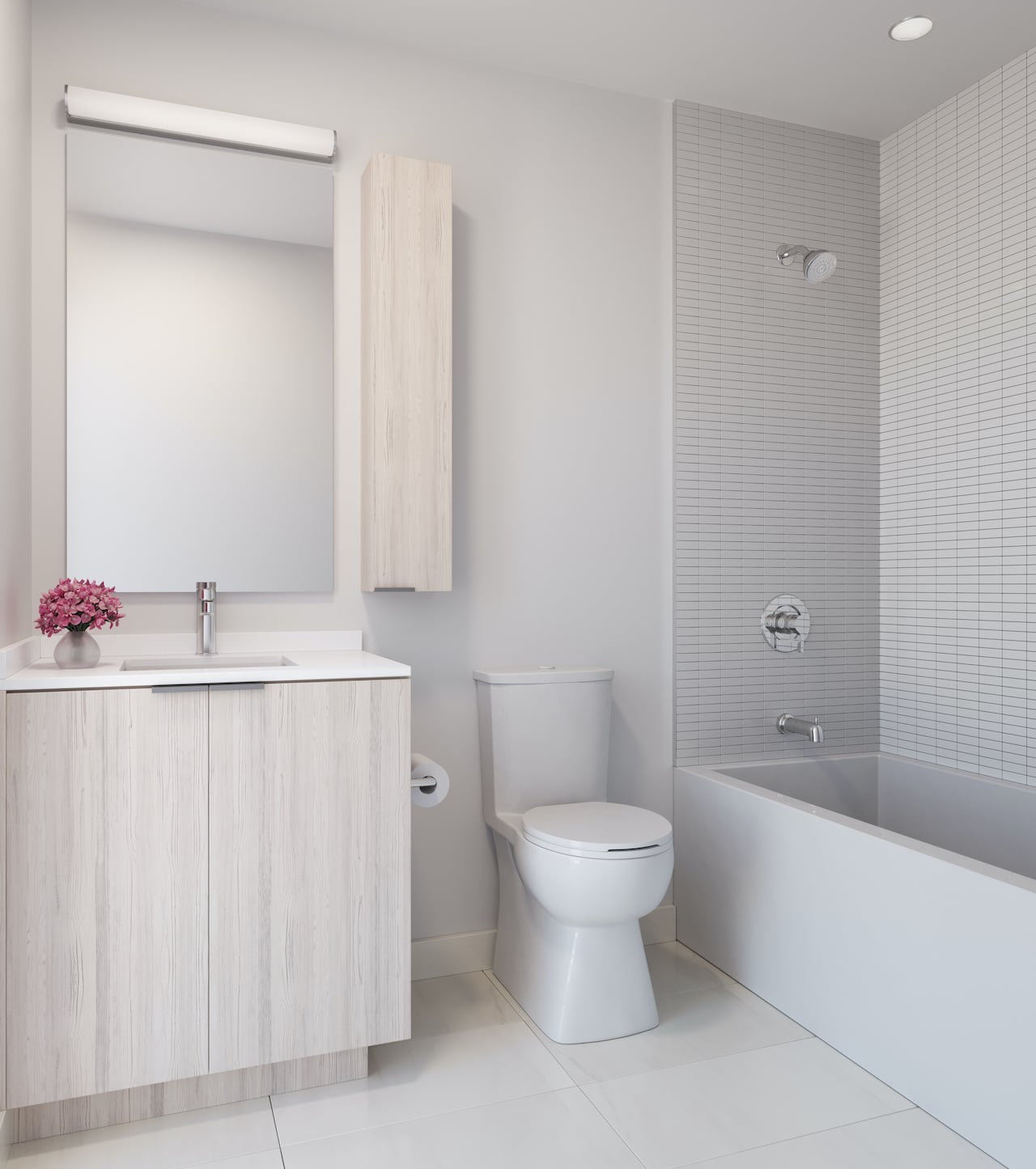 Rendering of Arte Residences bathroom neige