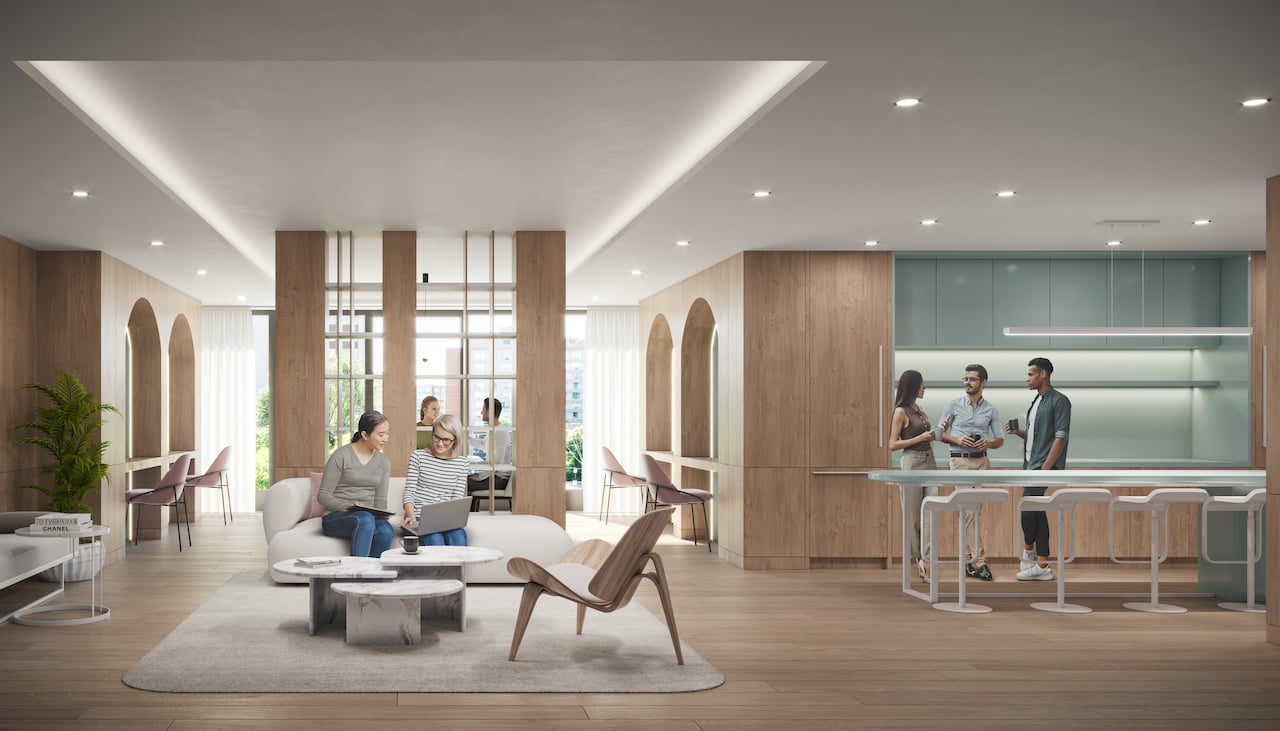 Rendering of Arte Residences co-working lounge