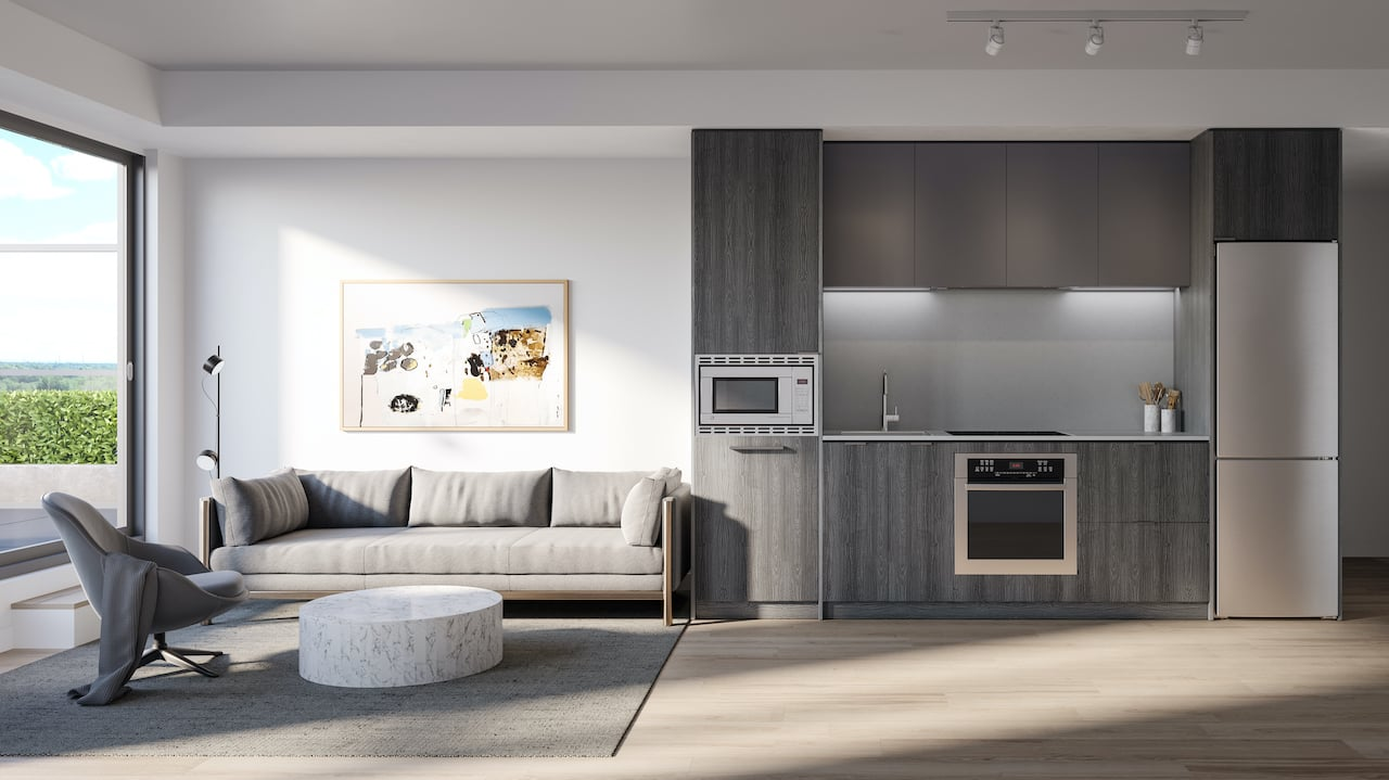 Rendering of Arte Residences kitchen and living without island ombre