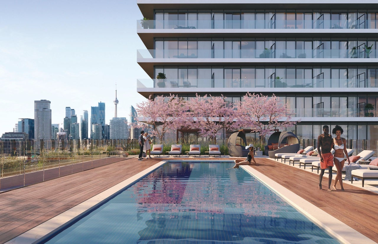 Exterior rendering of The GOODE Condos rooftop terrace with swimming pool