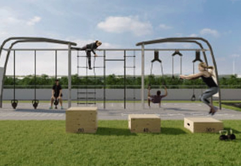 Rendering of The Millhouse Condos outdoor fitness gym