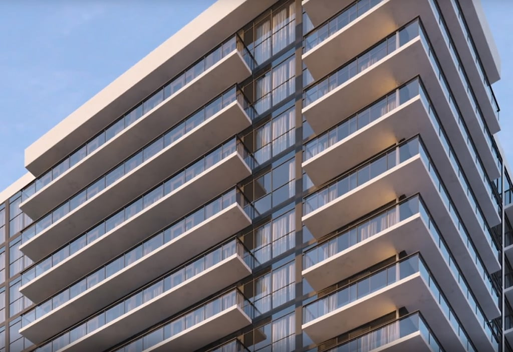 Rendering of The Millhouse Condos exterior closeup of top levels