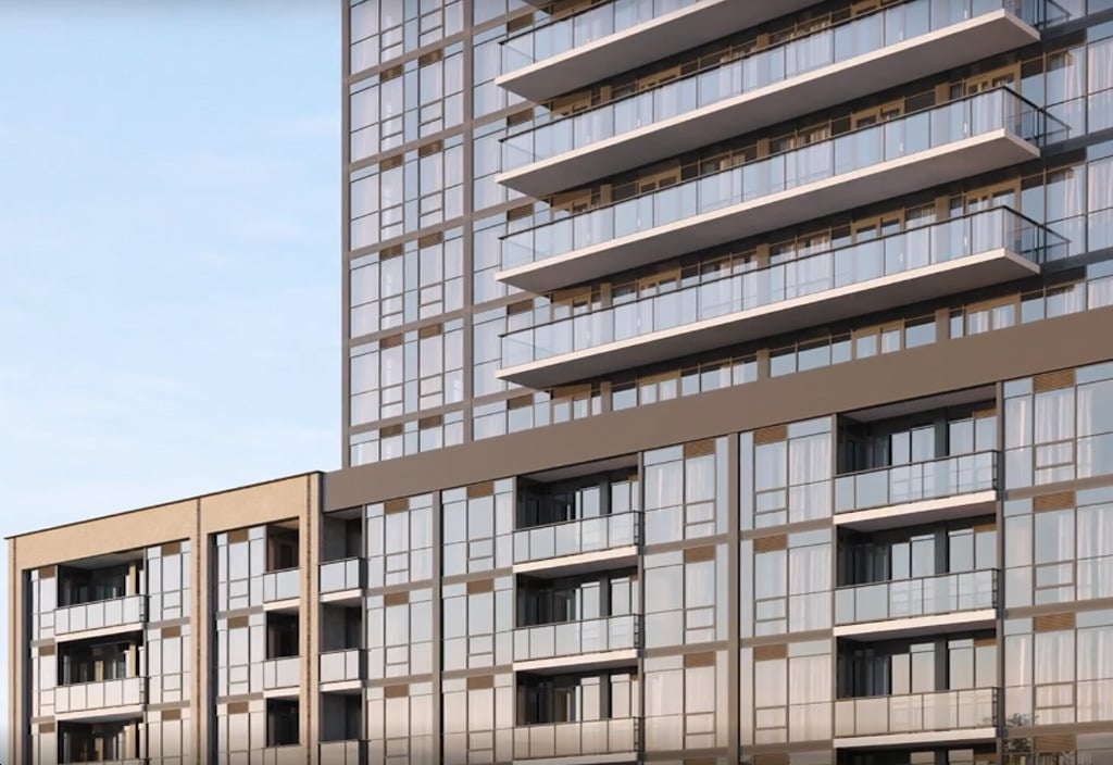 Rendering of The Millhouse Condos exterior closeup of lower levels