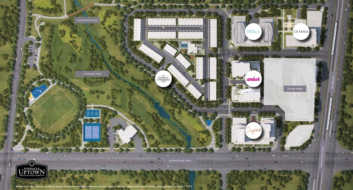 Site plan of Pinnacle Uptown condominium community
