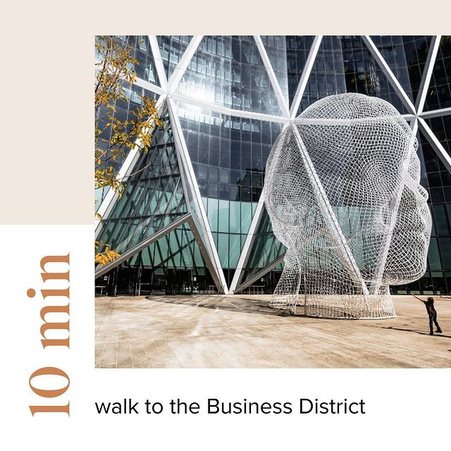 First & Park is 10 min walk to the business district
