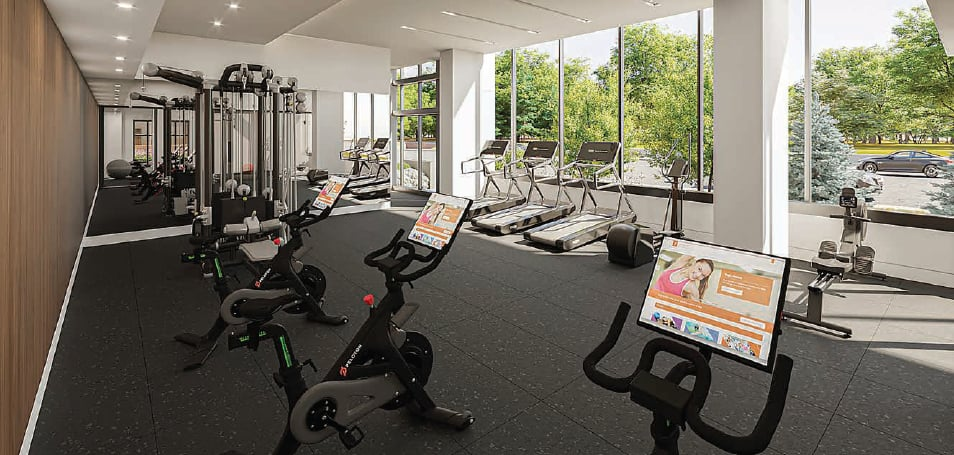 Rendering of First & Park Condos interior fitness centre