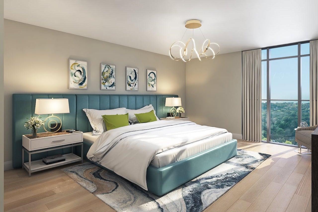 Rendering of FourMe Condos suite bedroom