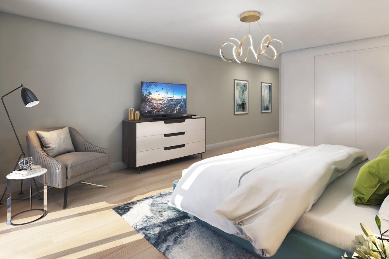 Rendering of FourMe Condos suite bedroom interior