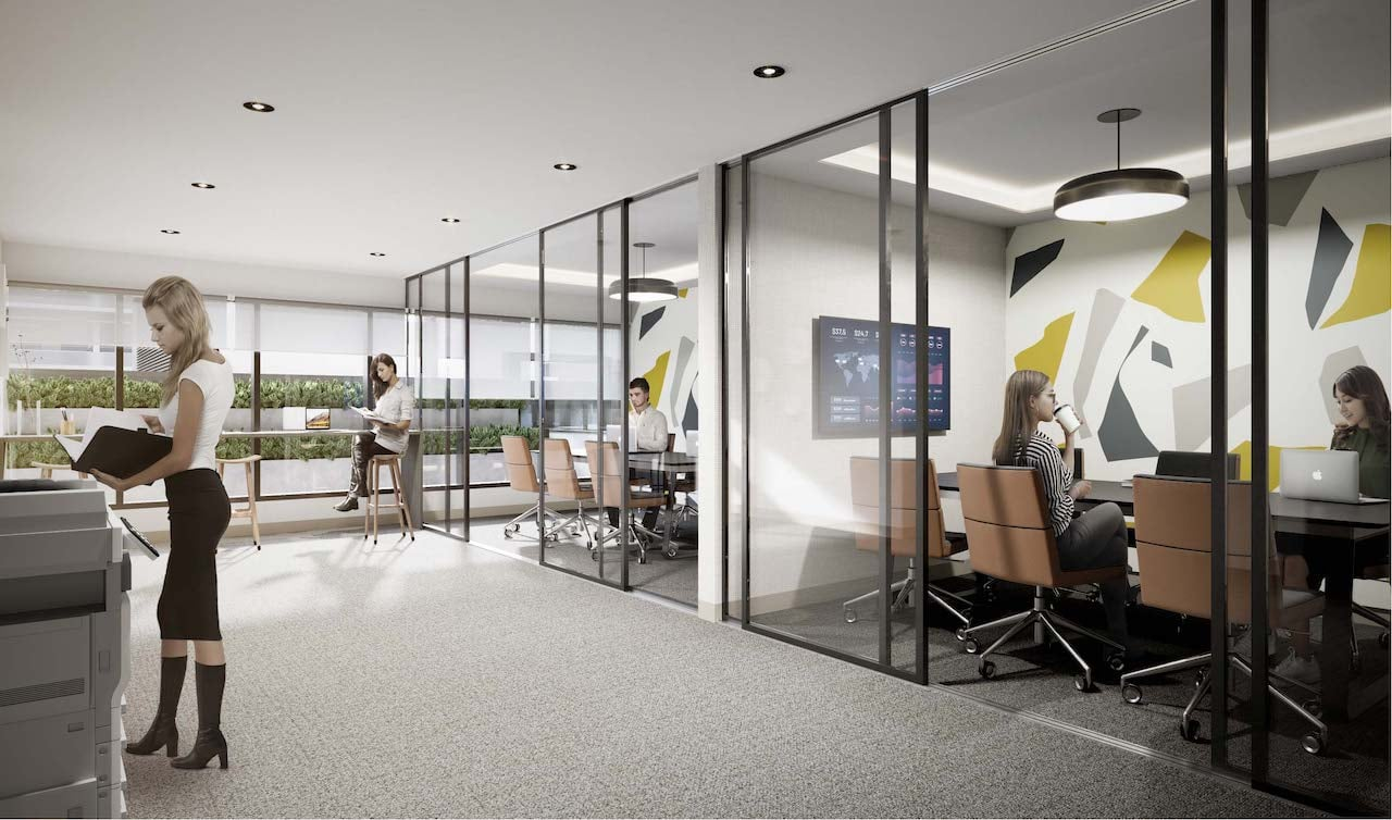 Rendering of M2M Squared Condos co-working space