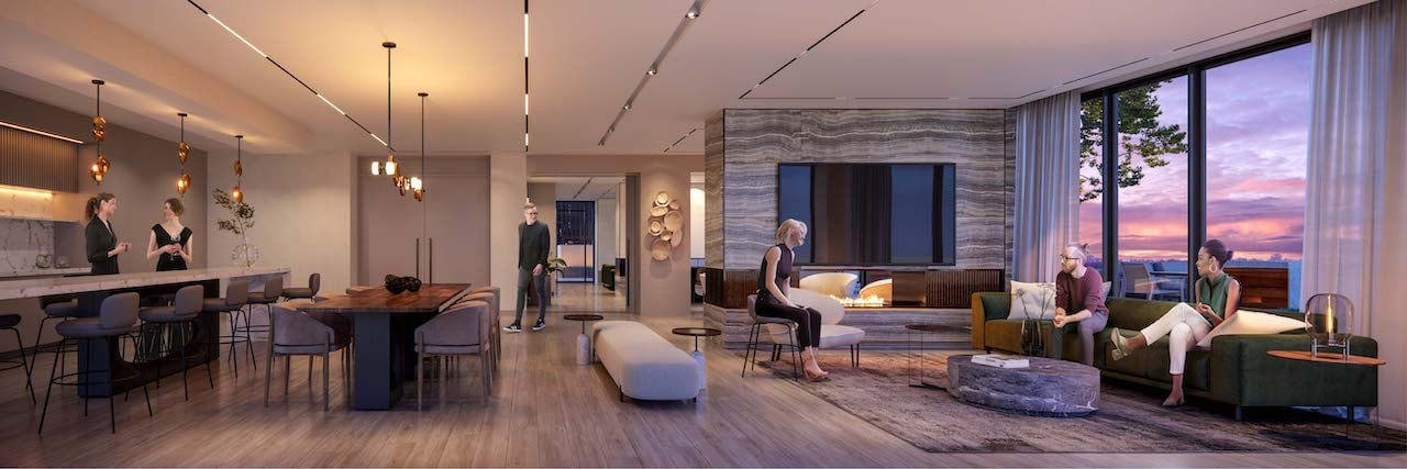 Rendering of M2M Squared Condos party room