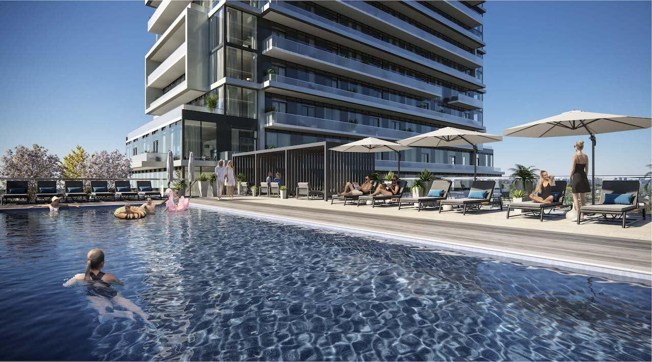 Rendering of M2M Squared Condos pool cabana