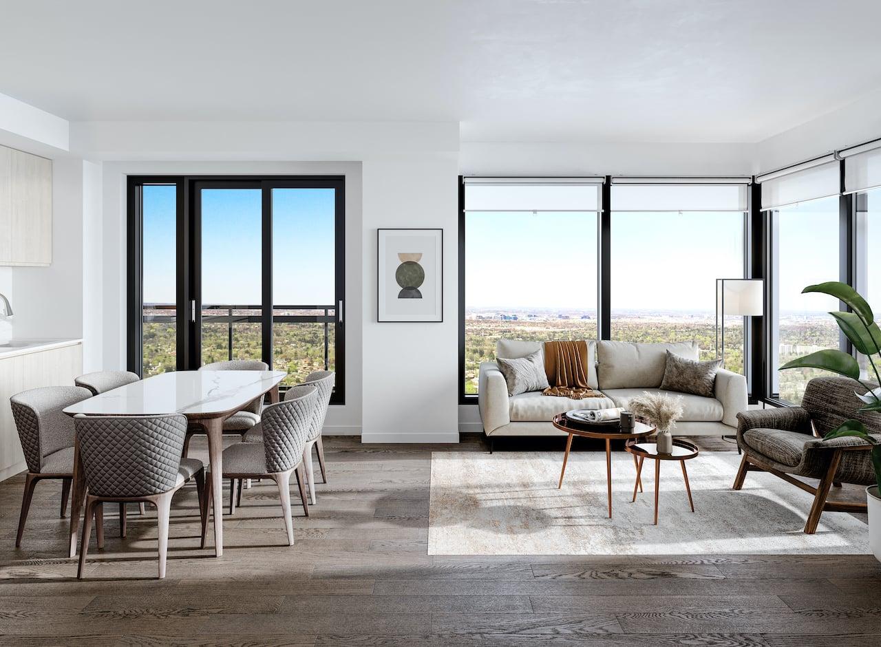 M2M Squared Condos suite interior living room