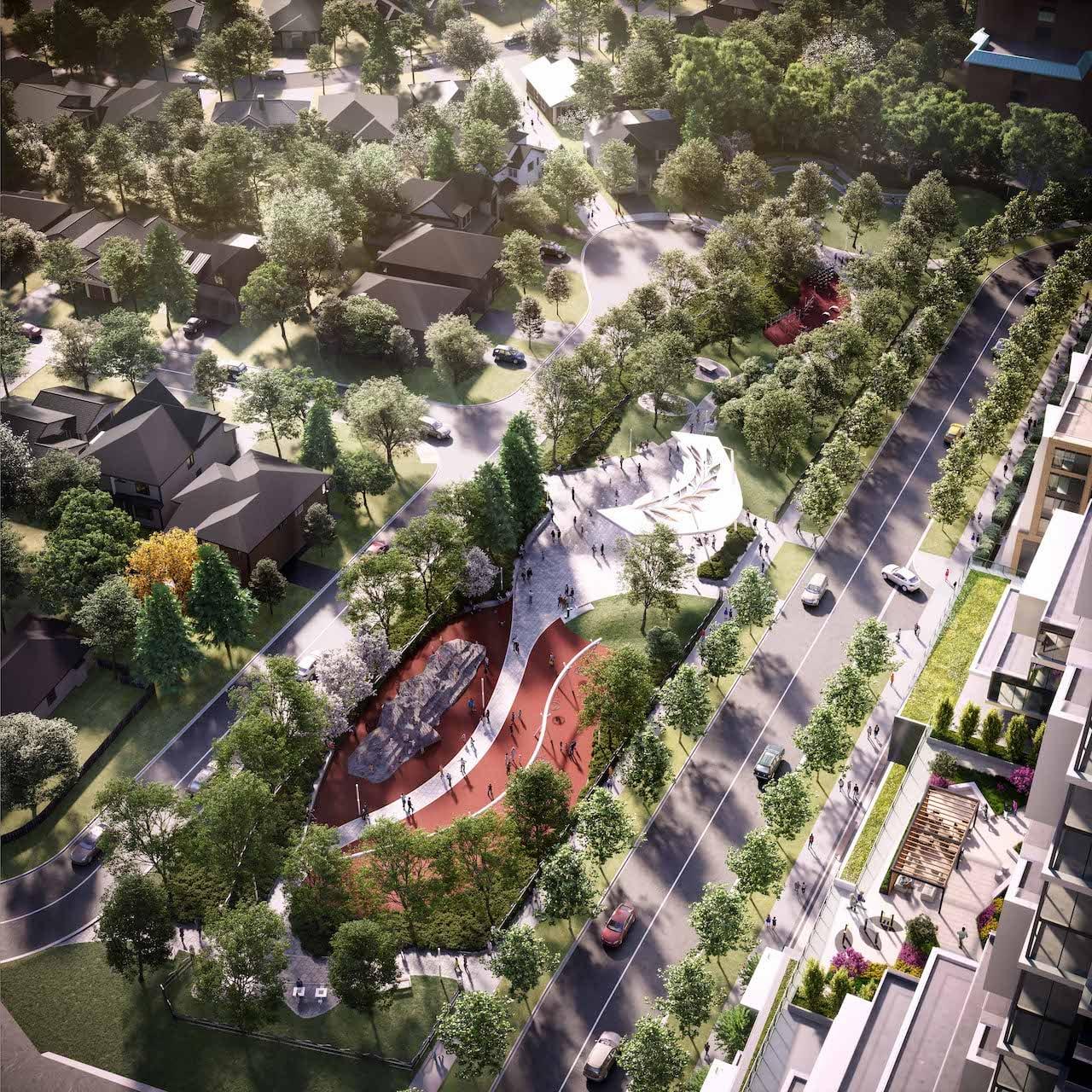 Rendering of M2M Squared Condos park aerial