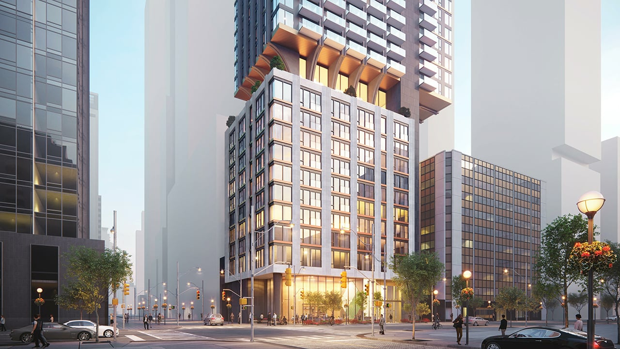 Rendering of 1255 Bay Condos exterior bottom half with street-view