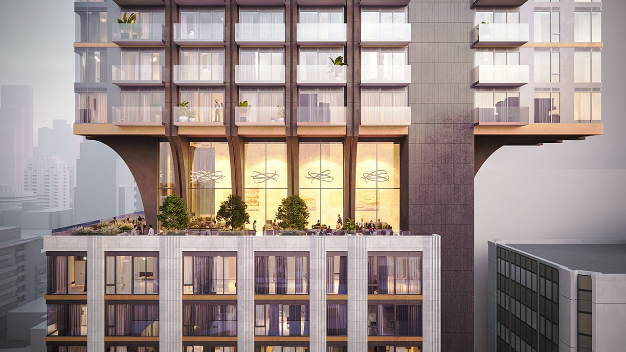 Rendering of 1255 Bay Condos exterior siding with terraces