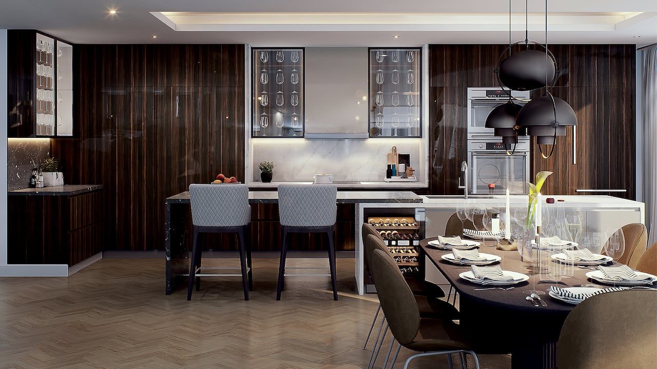 Rendering of Le Sherbrooke Condos penthouse kitchen interior