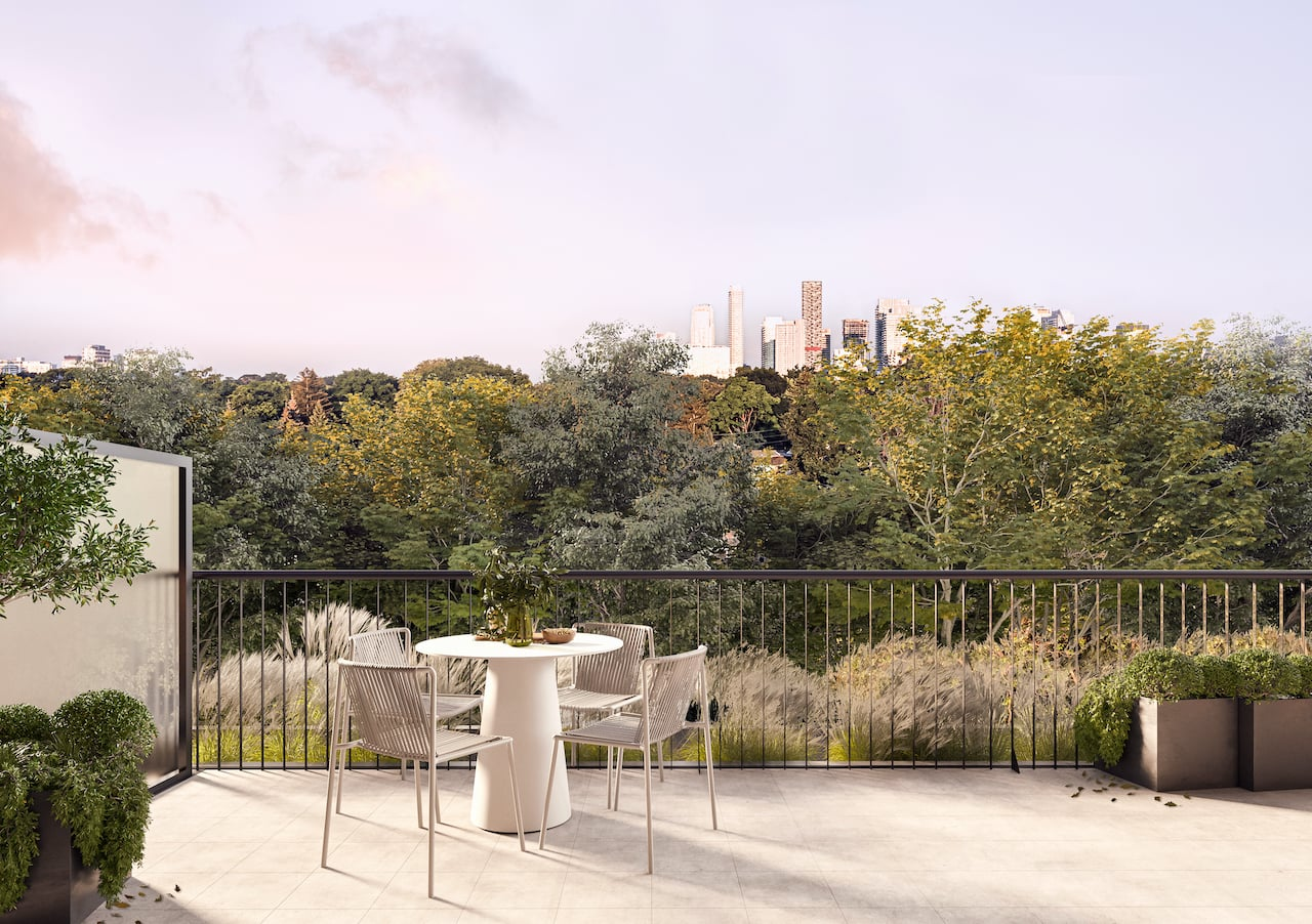 Rendering of Leaside Common suite exterior terrace