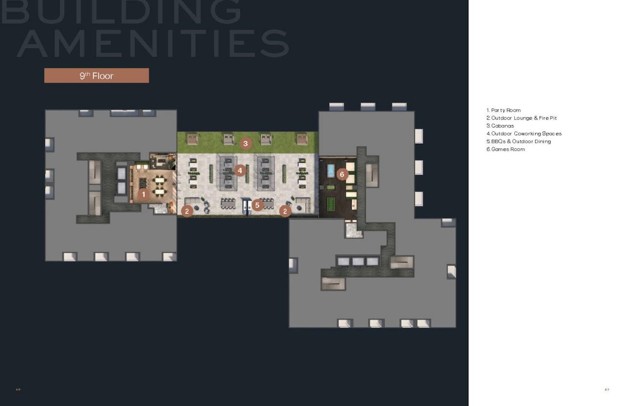 Verge 2 Condos 9th Floor Amenity Plan