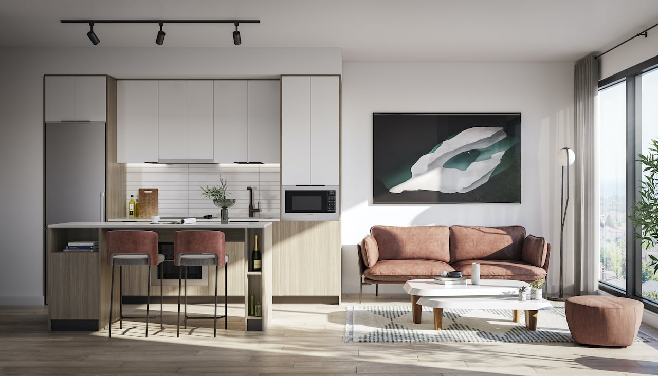 Rendering of Verge 2 condos suite interior with standard finishes