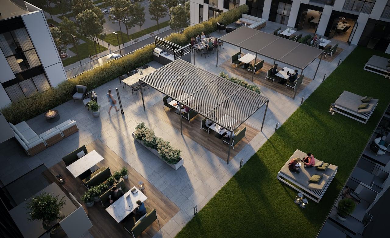 Rendering of Verge 2 condos aerial view of the 9th floor exterior terrace