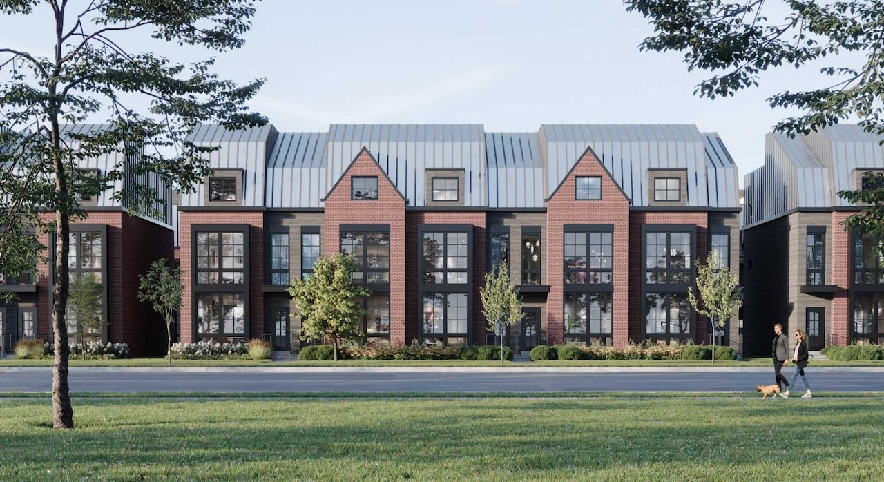 Rendering of Rosepark Townhomes exterior full streetscape view