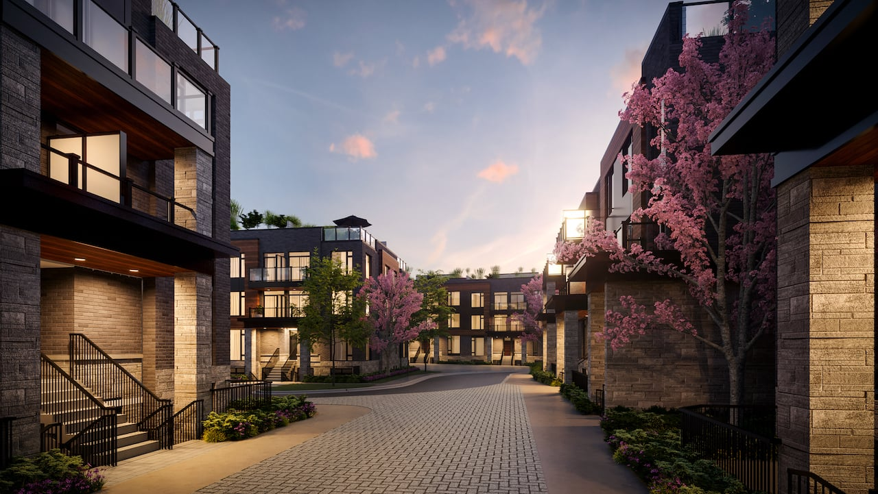 Rendering of The Markdale Towns courtyard night