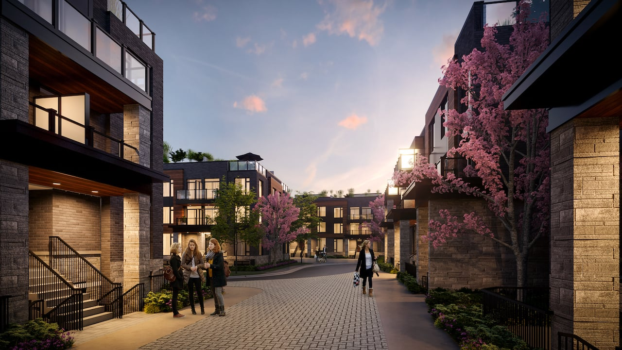 Rendering of The Markdale Towns courtyard at night with people