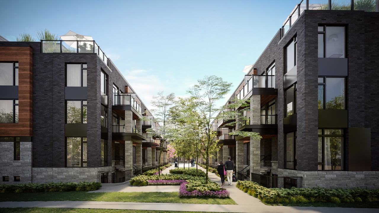 Rendering of The Markdale Towns courtyard during the day with people