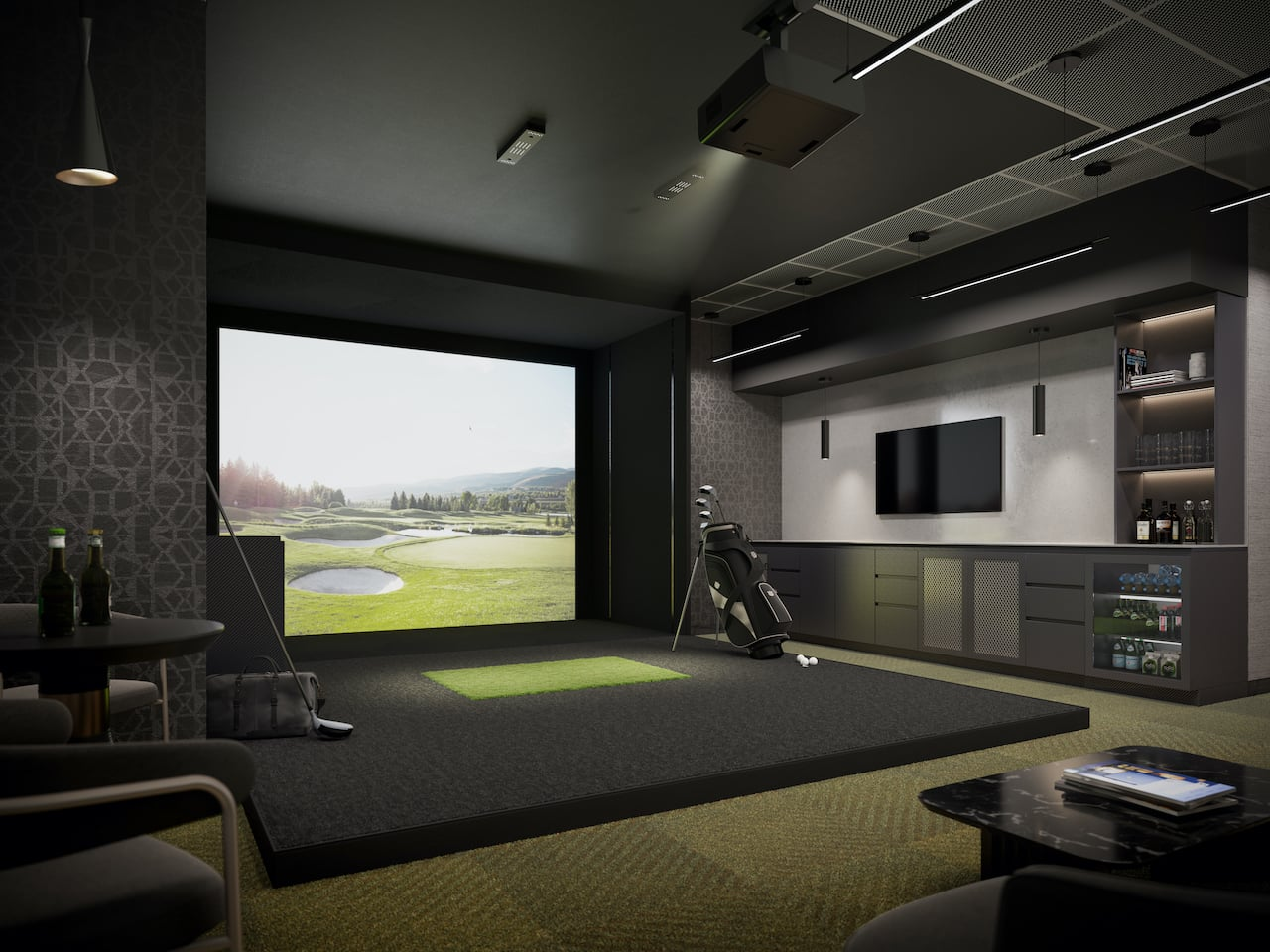 Rendering of Verge 2 Condos golf simulator