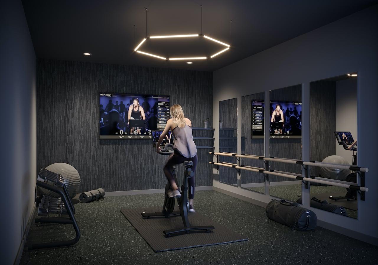 Rendering of Verge 2 Condos interactive fitness studio