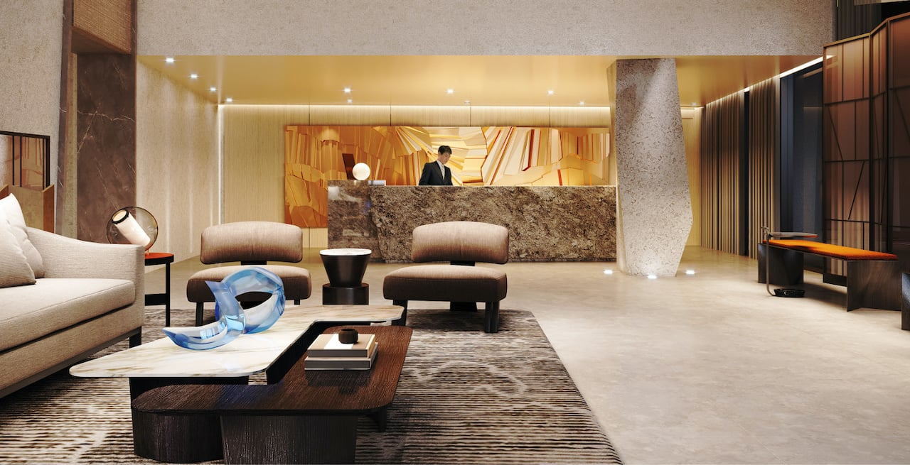 Rendering of Westerly Condos lobby with concierge
