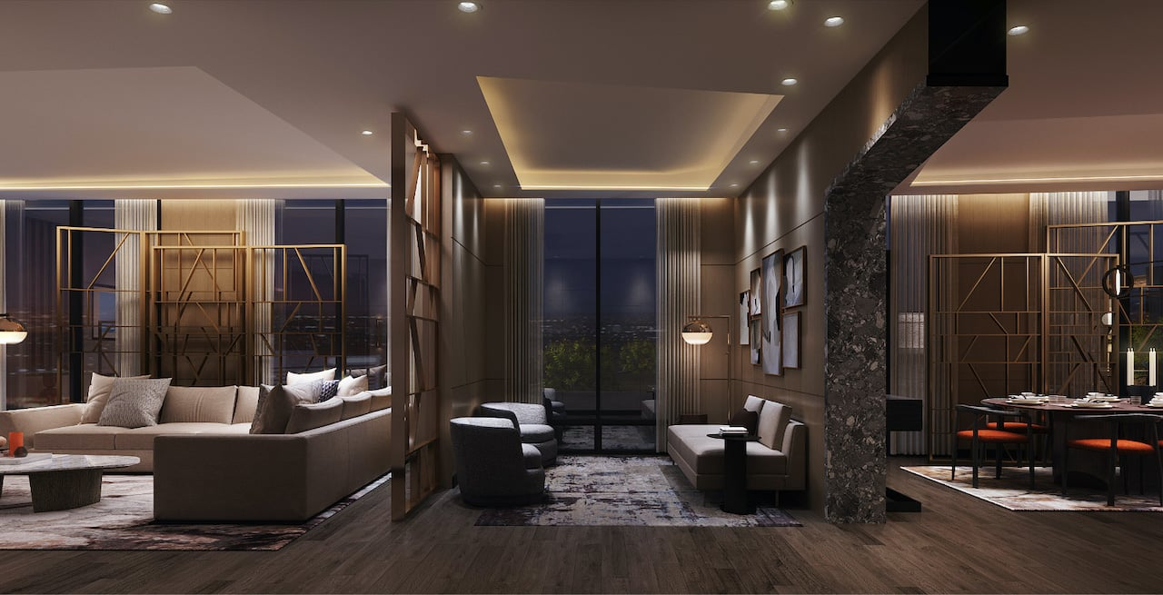 Rendering of Westerly Condos party room section with seating