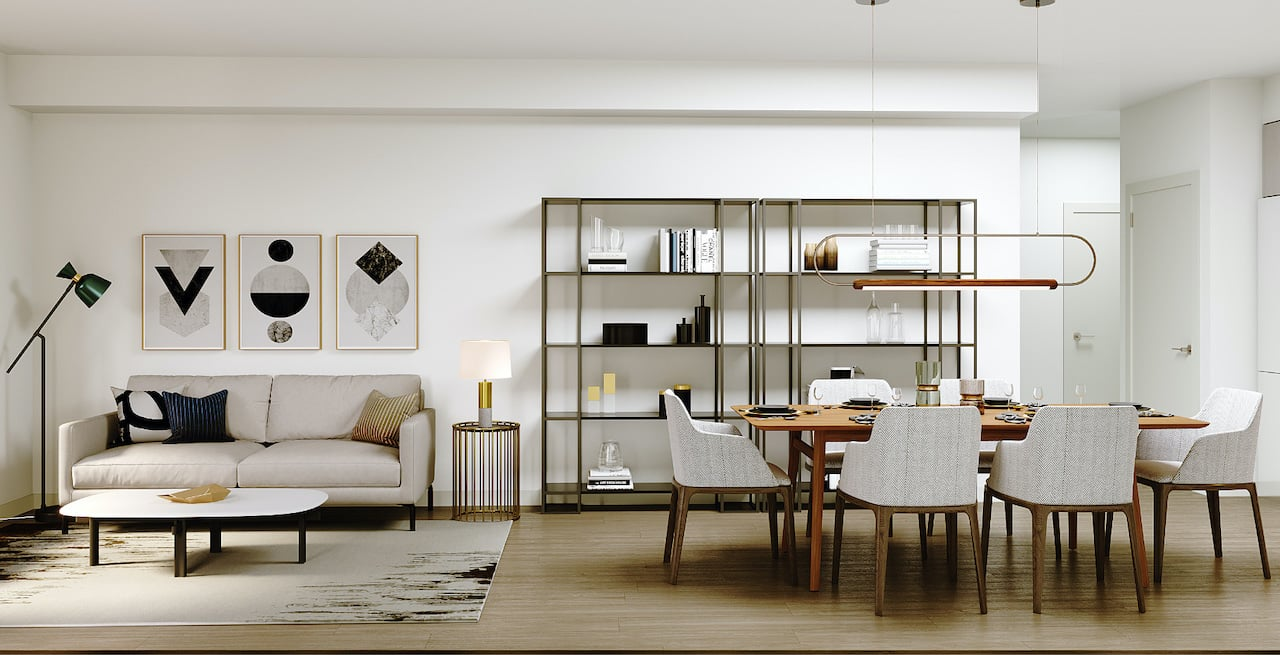 Rendering of Westerly Condos suite interior living area