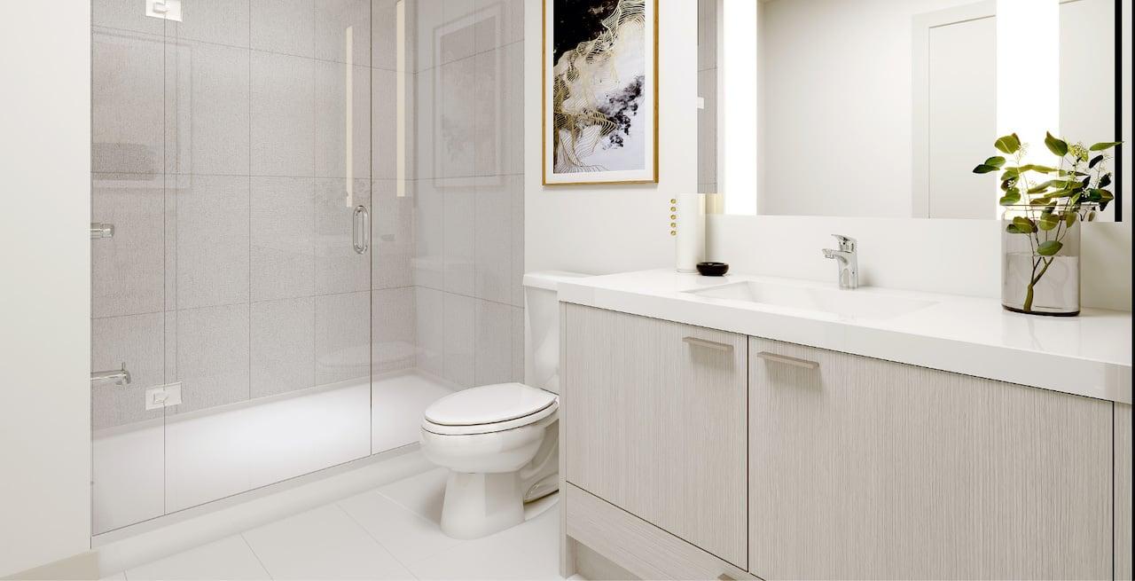 Rendering of Westerly Condos suite interior bathroom