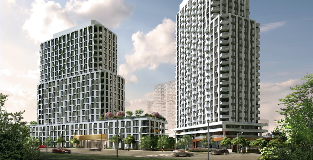 Rendering of Westerly Condos exterior two towers