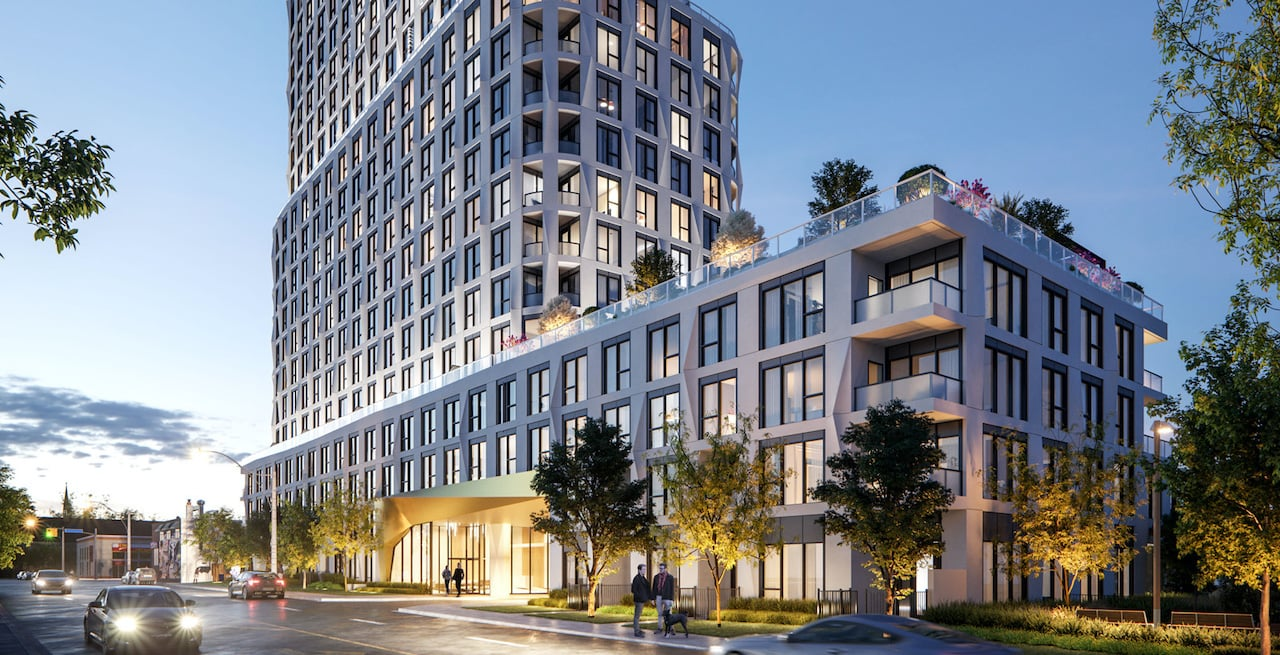 Rendering of Westerly Condos exterior and streetscape in the evening