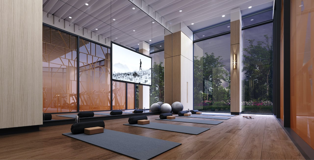 Rendering of Westerly Condos fitness centre with yoga mats